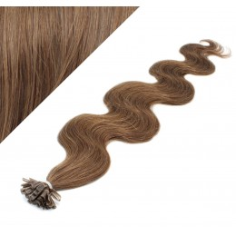 "20"" (50cm) Nail tip / U tip human hair pre bonded extensions wavy – medium light brown"