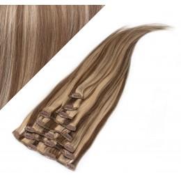 """24"""" (60cm) Clip in human REMY hair - dark brown/blonde"""