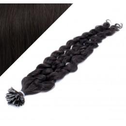 "20"" (50cm) Nail tip / U tip human hair pre bonded extensions curly – natural black"