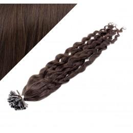 """20"""" (50cm) Nail tip / U tip human hair pre bonded extensions curly – dark brown"""