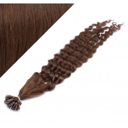 "20"" (50cm) Nail tip / U tip human hair pre bonded extensions curly – medium brown"
