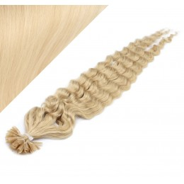 """20"""" (50cm) Nail tip / U tip human hair pre bonded extensions curly – the lightest blonde"""