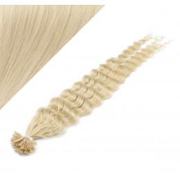 "20"" (50cm) Nail tip / U tip human hair pre bonded extensions curly – platinum blonde"
