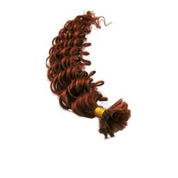 """20"""" (50cm) Nail tip / U tip human hair pre bonded extensions curly – copper red"""