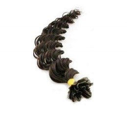 "24"" (60cm) Nail tip / U tip human hair pre bonded extensions curly - natural black"