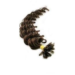 "24"" (60cm) Nail tip / U tip human hair pre bonded extensions curly - dark brown"