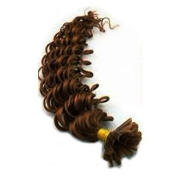 "24"" (60cm) Nail tip / U tip human hair pre bonded extensions curly - medium brown"