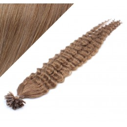 "24"" (60cm) Nail tip / U tip human hair pre bonded extensions curly - light brown"