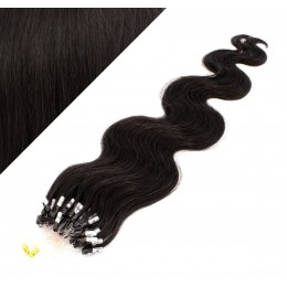 "20"" (50cm) Micro ring human hair extensions wavy- natural black"