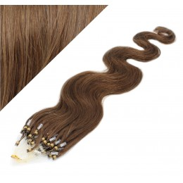 "20"" (50cm) Micro ring human hair extensions wavy- medium light brown"
