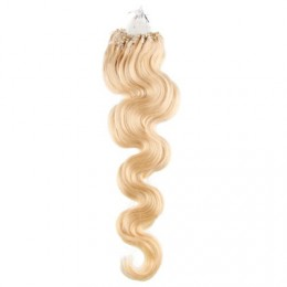 "20"" (50cm) Micro ring human hair extensions wavy- the lightest blonde"