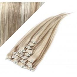 "24"" (60cm) Clip in human REMY hair - platinum/light brown"