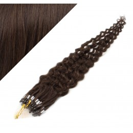 20˝ (50cm) Micro ring human hair extensions curly- dark brown