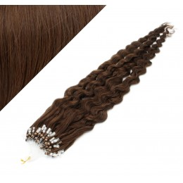 20˝ (50cm) Micro ring human hair extensions curly- medium brown