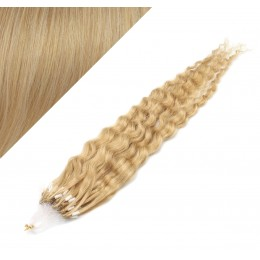 20˝ (50cm) Micro ring human hair extensions curly- natural blonde