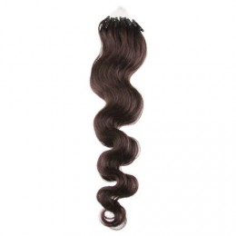 24˝ (60cm) Micro ring human hair extensions wavy - dark brown