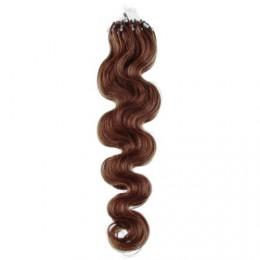 24˝ (60cm) Micro ring human hair extensions wavy - medium light brown