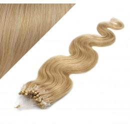 24˝ (60cm) Micro ring human hair extensions wavy - natural blonde