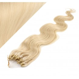 24˝ (60cm) Micro ring human hair extensions wavy - the lightest blonde