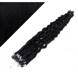 24˝ (60cm) Micro ring human hair extensions curly - black