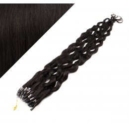 24˝ (60cm) Micro ring human hair extensions curly - natural black