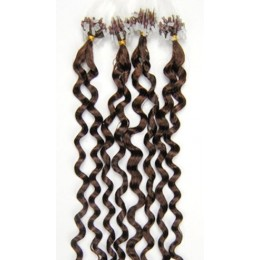 24˝ (60cm) Micro ring human hair extensions curly - medium light brown