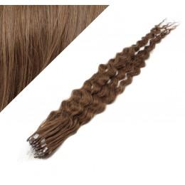 24˝ (60cm) Micro ring human hair extensions curly - medium light brown