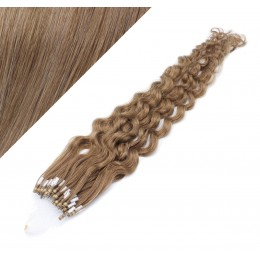 24˝ (60cm) Micro ring human hair extensions curly - light brown
