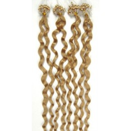 24˝ (60cm) Micro ring human hair extensions curly - natural blonde