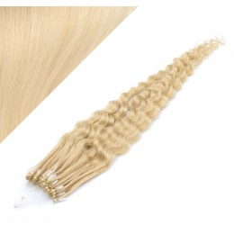 24˝ (60cm) Micro ring human hair extensions curly - the lightest blonde