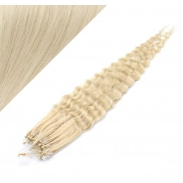 24˝ (60cm) Micro ring human hair extensions curly - platinum blonde