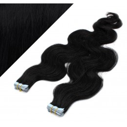 20˝ (50cm) Tape Hair / Tape IN human REMY hair wavy - black