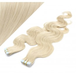 20˝ (50cm) Tape Hair / Tape IN human REMY hair wavy - platinum blonde