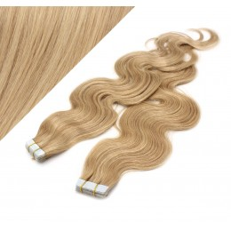 20˝ (50cm) Tape Hair / Tape IN human REMY hair wavy - natural blonde / light blonde