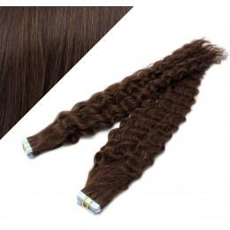 20˝ (50cm) Tape Hair / Tape IN human REMY hair curly - dark brown