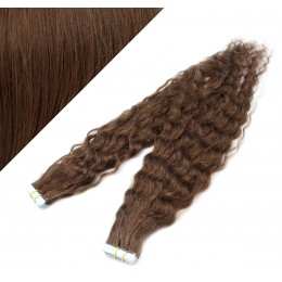 20˝ (50cm) Tape Hair / Tape IN human REMY hair curly - medium brown
