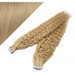 20˝ (50cm) Tape Hair / Tape IN human REMY hair curly - natural blonde