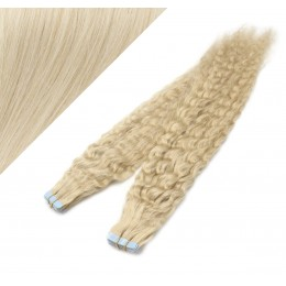20˝ (50cm) Tape Hair / Tape IN human REMY hair curly - platinum blonde