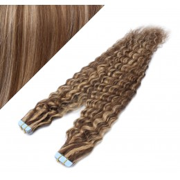 20˝ (50cm) Tape Hair / Tape IN human REMY hair curly - dark brown / blonde
