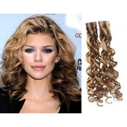20˝ (50cm) Tape Hair / Tape IN human REMY hair curly - mixed blonde