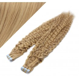 20˝ (50cm) Tape Hair / Tape IN human REMY hair curly - natural blonde / light blonde