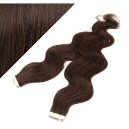 24˝ (60cm) Tape Hair / Tape IN human REMY hair wavy - dark brown