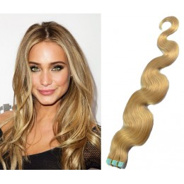24˝ (60cm) Tape Hair / Tape IN human REMY hair wavy - natural blonde