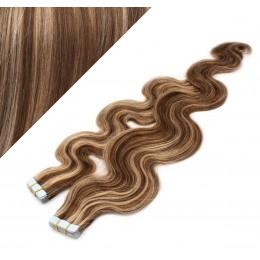 24˝ (60cm) Tape Hair / Tape IN human REMY hair wavy - dark brown / blonde
