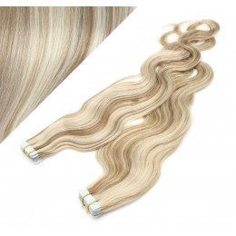 24˝ (60cm) Tape Hair / Tape IN human REMY hair wavy - platinum / light brown
