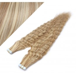 24˝ (60cm) Tape Hair / Tape IN human REMY hair curly - mixed blonde