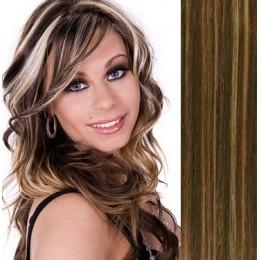 """28"""" (70cm) Clip in human REMY hair - dark brown/blonde"""