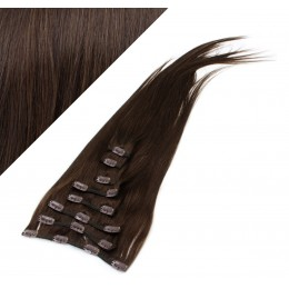 "15"" (40cm) Clip in human REMY hair 100g - dark brown"