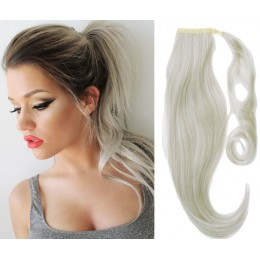 "Clip in ponytail wrap / braid hair extension 24"" straight - natural/light blonde"