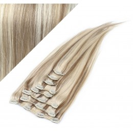 "28"" (70cm) Clip in human REMY hair - platinum/light brown"